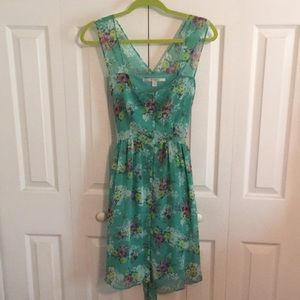 Spring Floral mid-length dress with waist tie